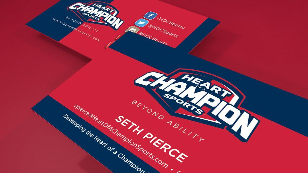 Heart of a Champion Sports Business Card design